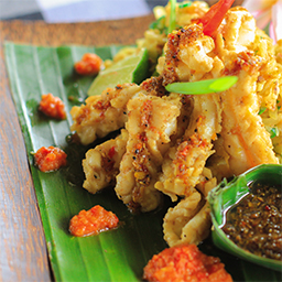 Balinese Lawar Cumi served with squids and authentic Bali spices