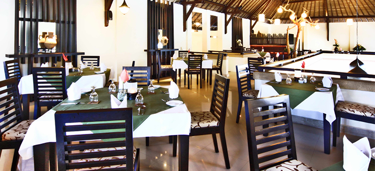 restaurant seating with Balinese style decor