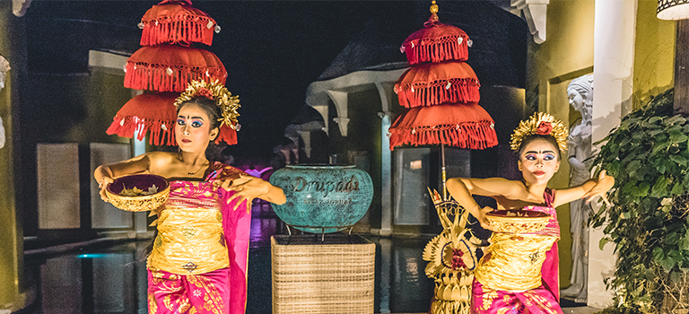 Balinese pendet dance performed at stage
