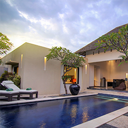 A glimpse of sunset from the pool area in villa