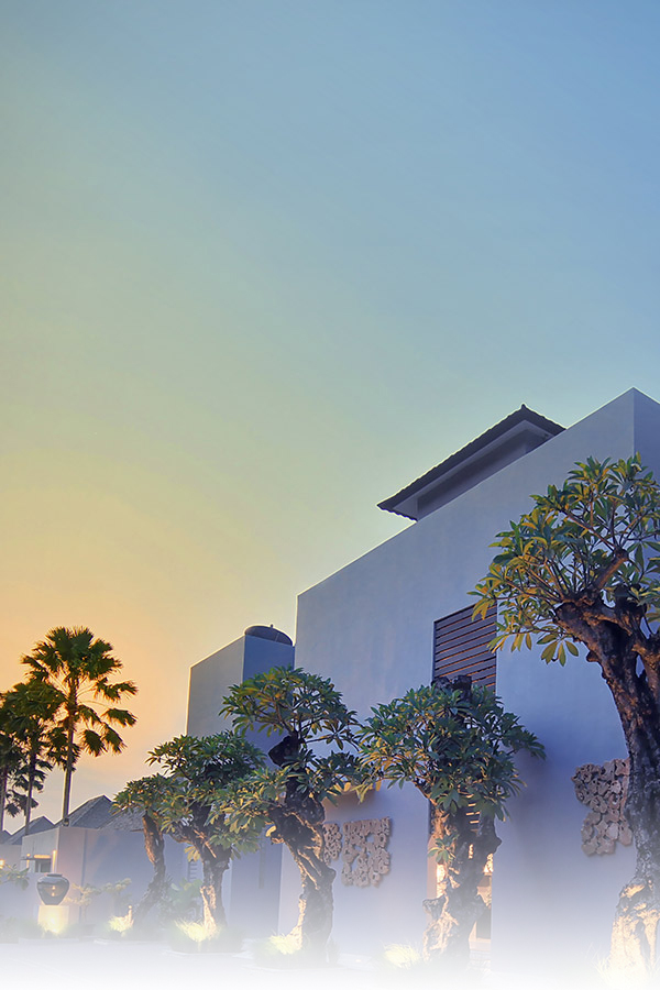 Villa building on sunset at Seminyak