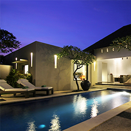Night pool view at private villa