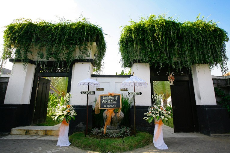 Wedding gate decoration at front villa entrance