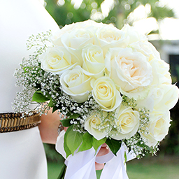 White roses for bride's flower hand bouquet